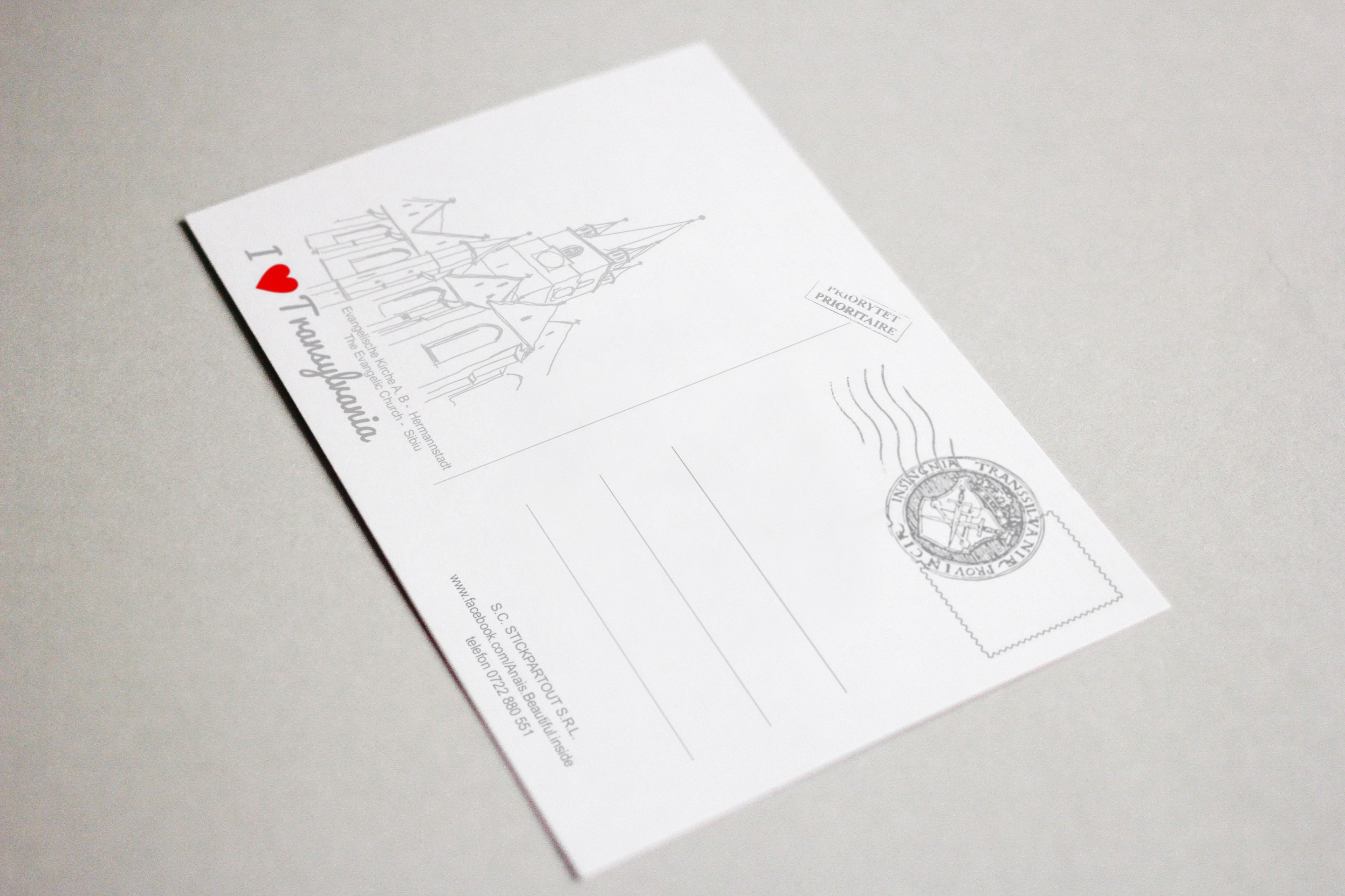 Carte postala Biserica Evanghelica, suvenir Sibiu 2