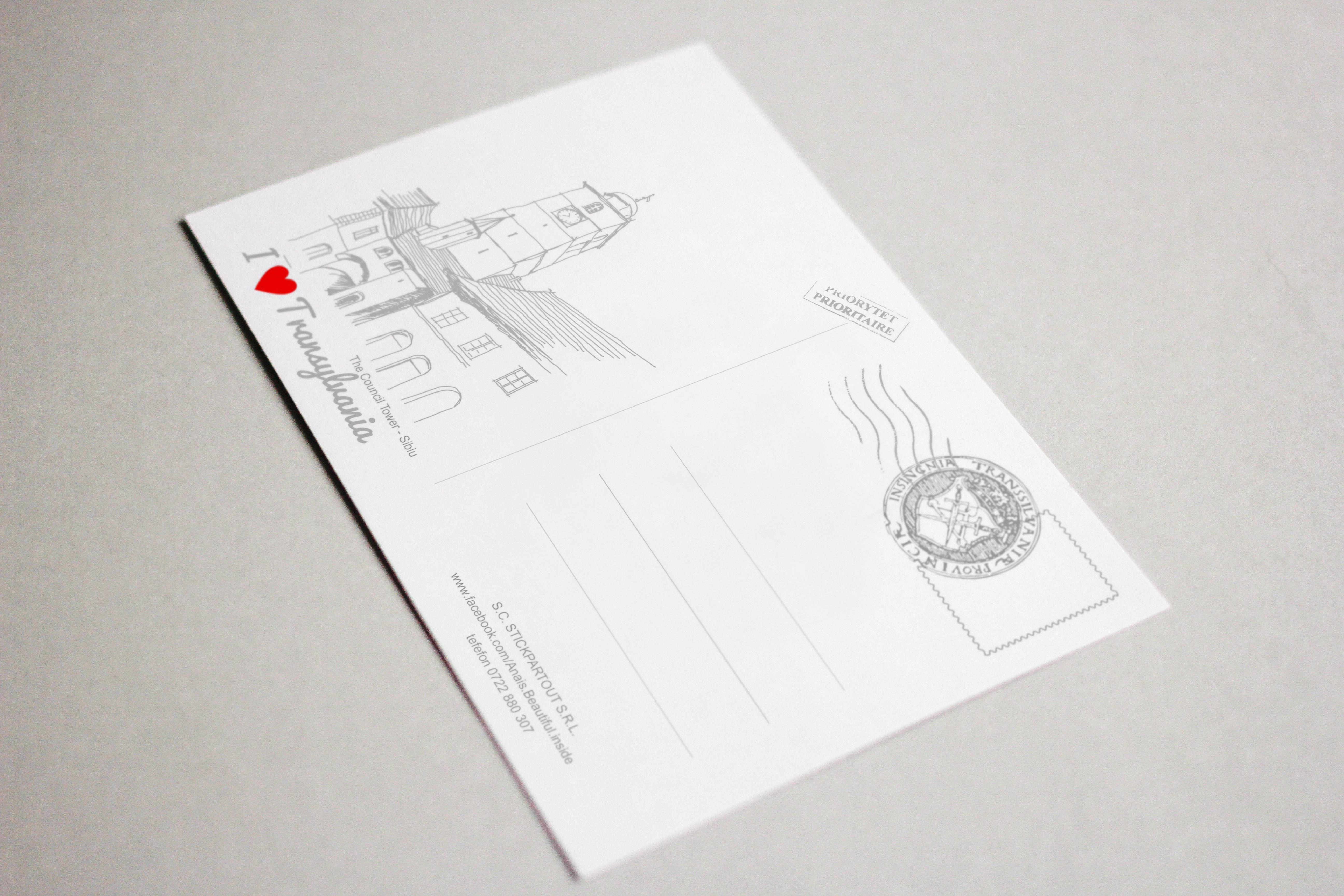 Carte postala model Turnul Sfatului, suvenir Sibiu 2