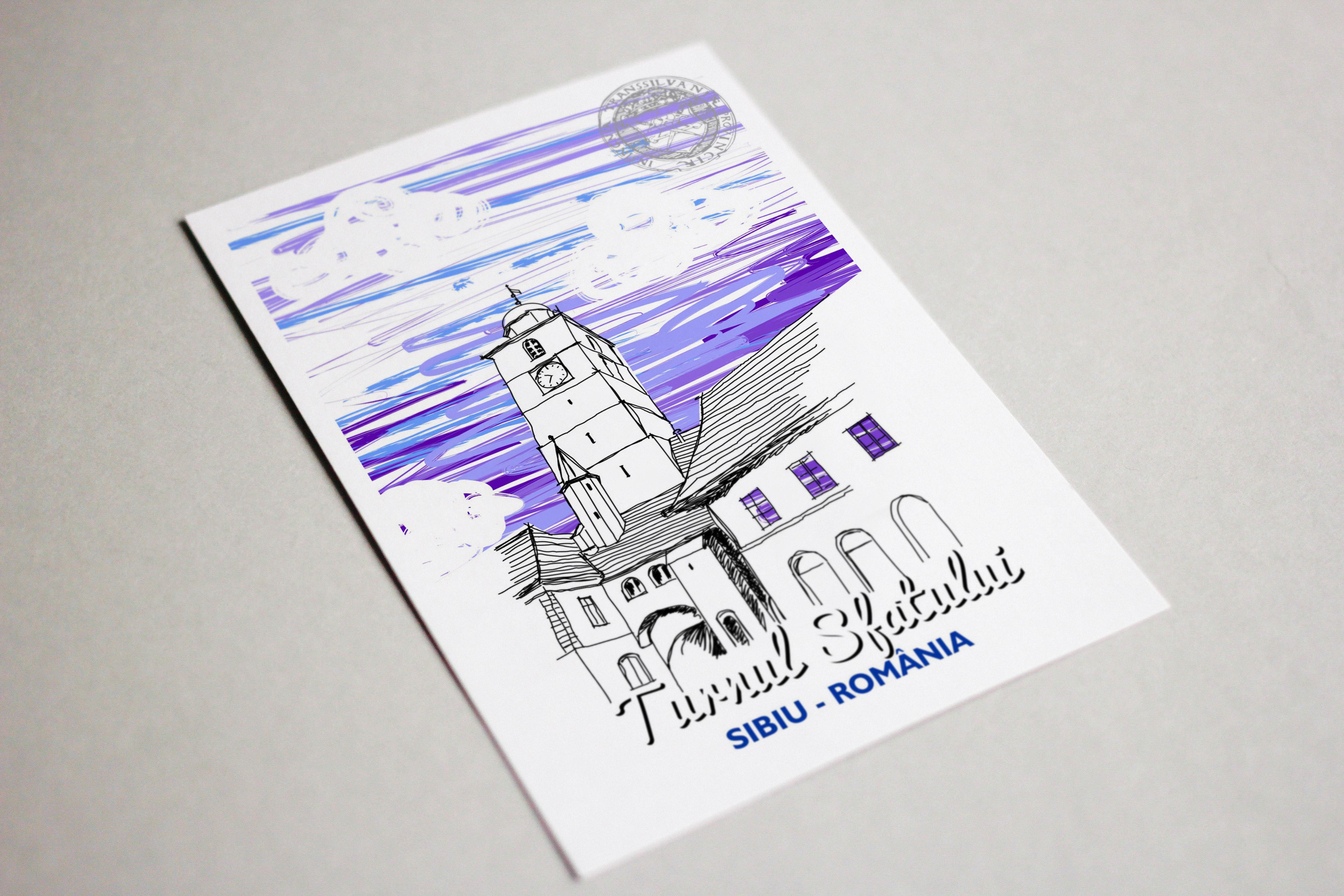 Carte postala model Turnul Sfatului, suvenir Sibiu 3